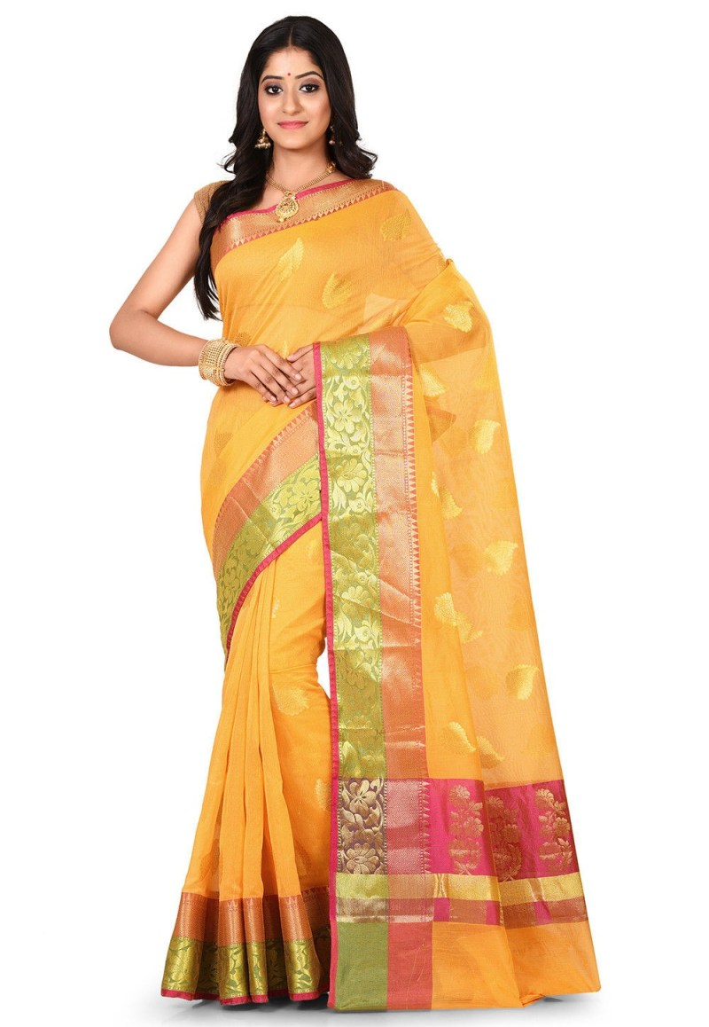 Banarasi Cotton Silk Saree in Yellow 1