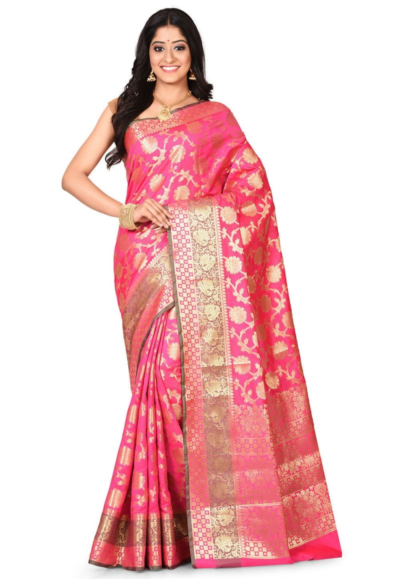 Woven Banarasi Art Silk Saree in Fuchsia 1
