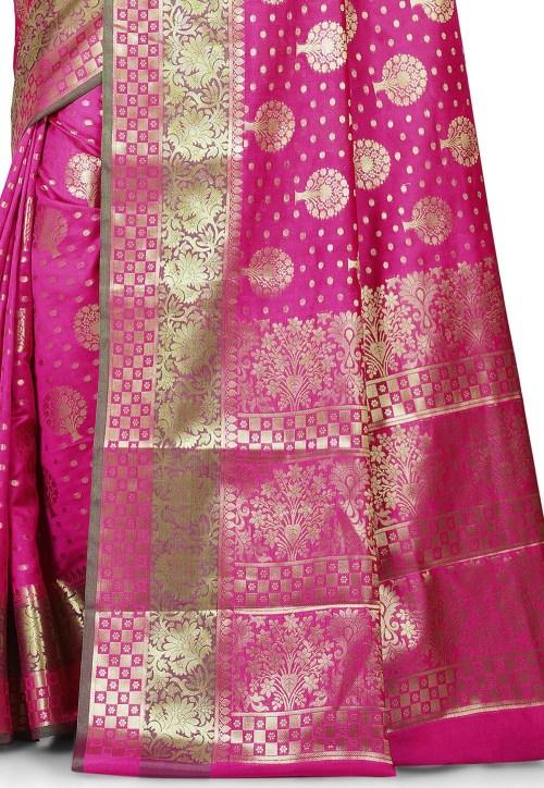 Woven Banarasi Art Silk Saree in Magenta 5