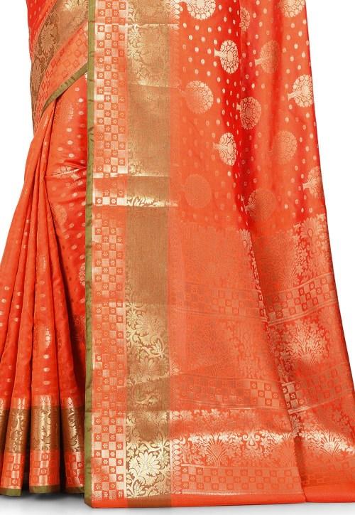 Woven Banarasi Art Silk Saree in Orange 5