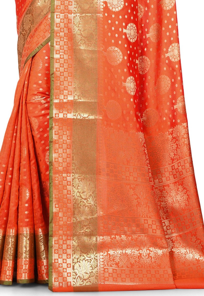 Woven Banarasi Art Silk Saree in Orange 2