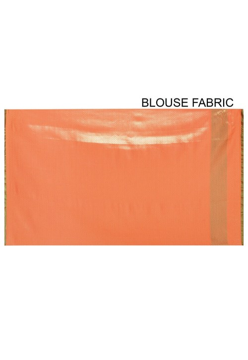 Woven Banarasi Art Silk Saree in Orange 6