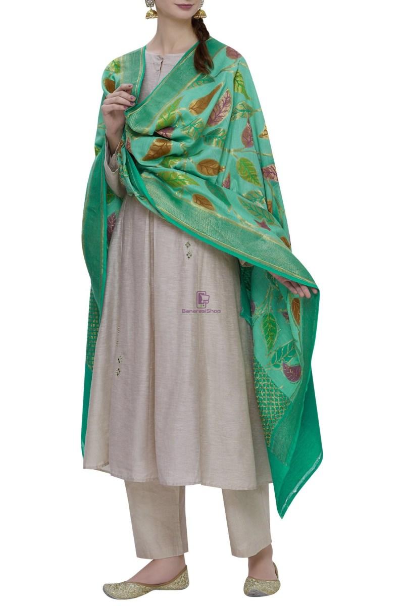 Handloom Banarasi Pure Muga Silk Dupatta in Turquoise 1