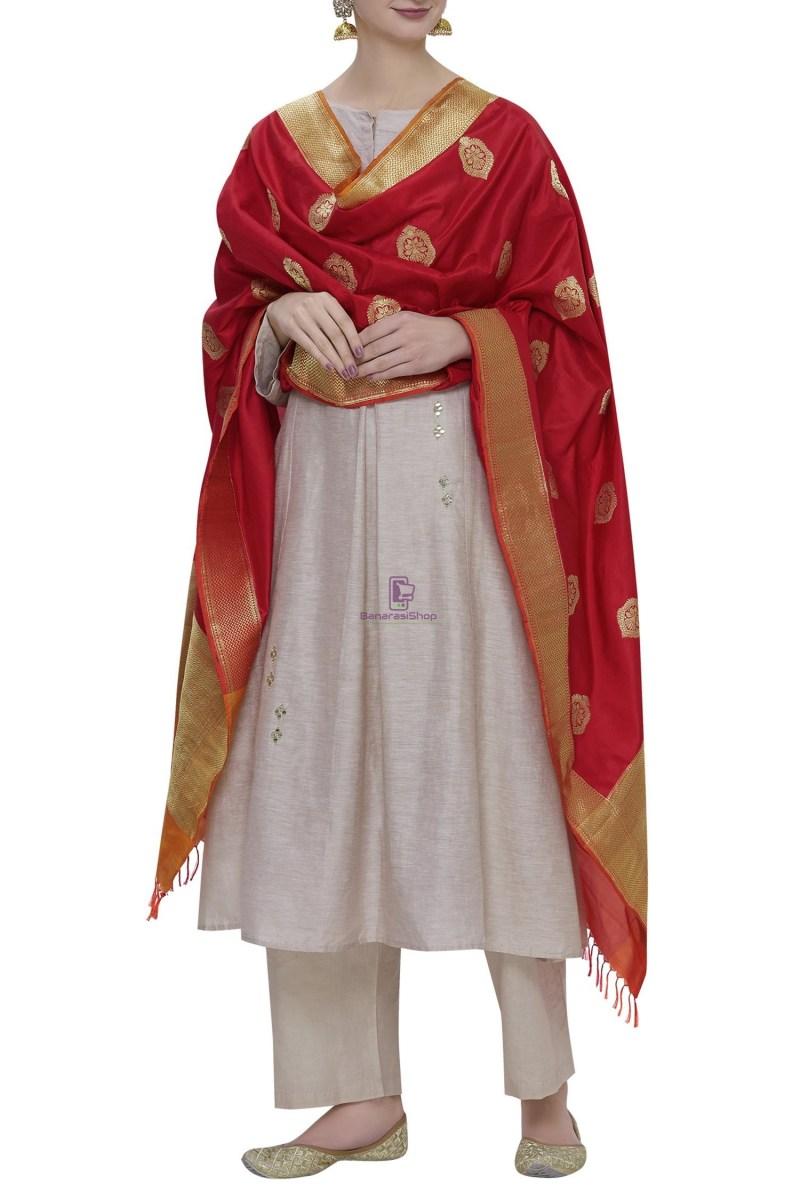 Handloom Banarasi Pure Katan Silk Dupatta in Red 1