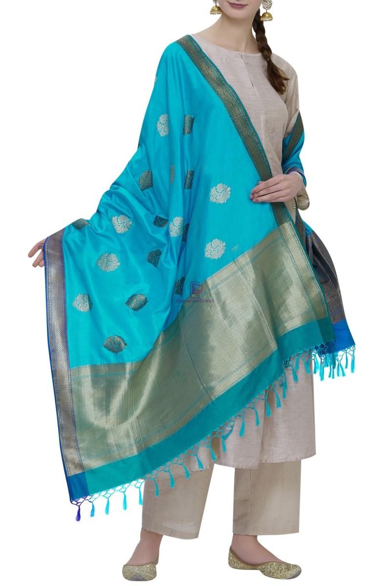 Handloom Banarasi Pure Katan Silk Dupatta in Blue 2