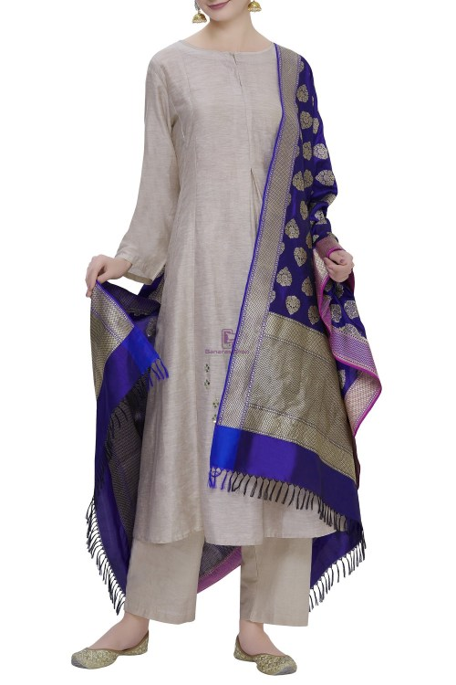 Handloom Banarasi Pure Katan Silk Dupatta in Blue 3