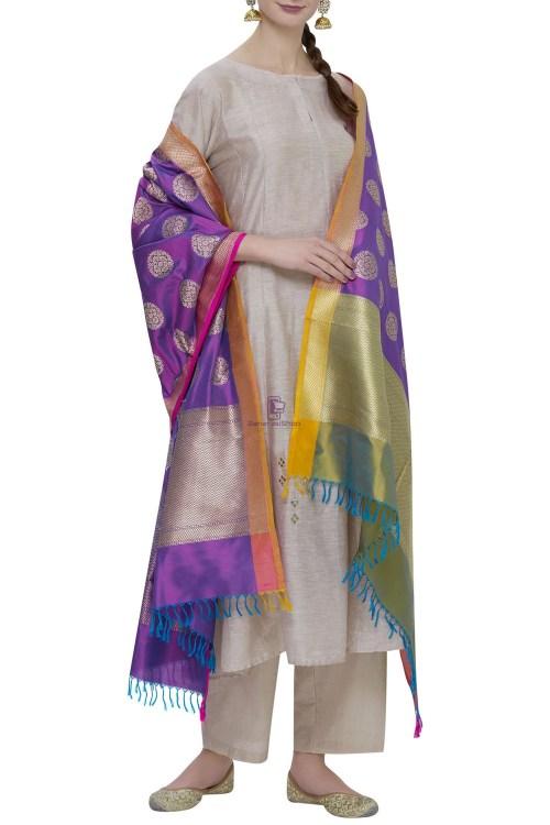 Handloom Banarasi Pure Katan Silk Dupatta in Purple 3
