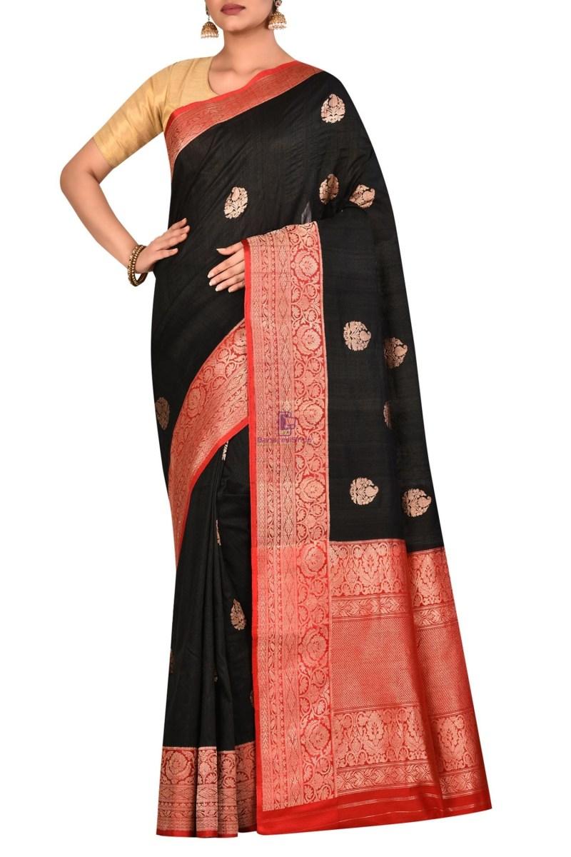Pure Banarasi Tussar Handwoven Black Silk Saree 1