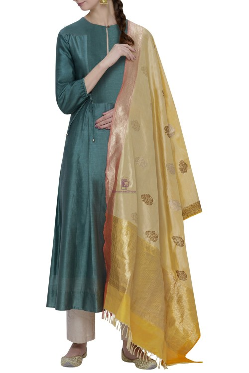 Handloom Banarasi Pure Katan Silk Dupatta in Beige 3