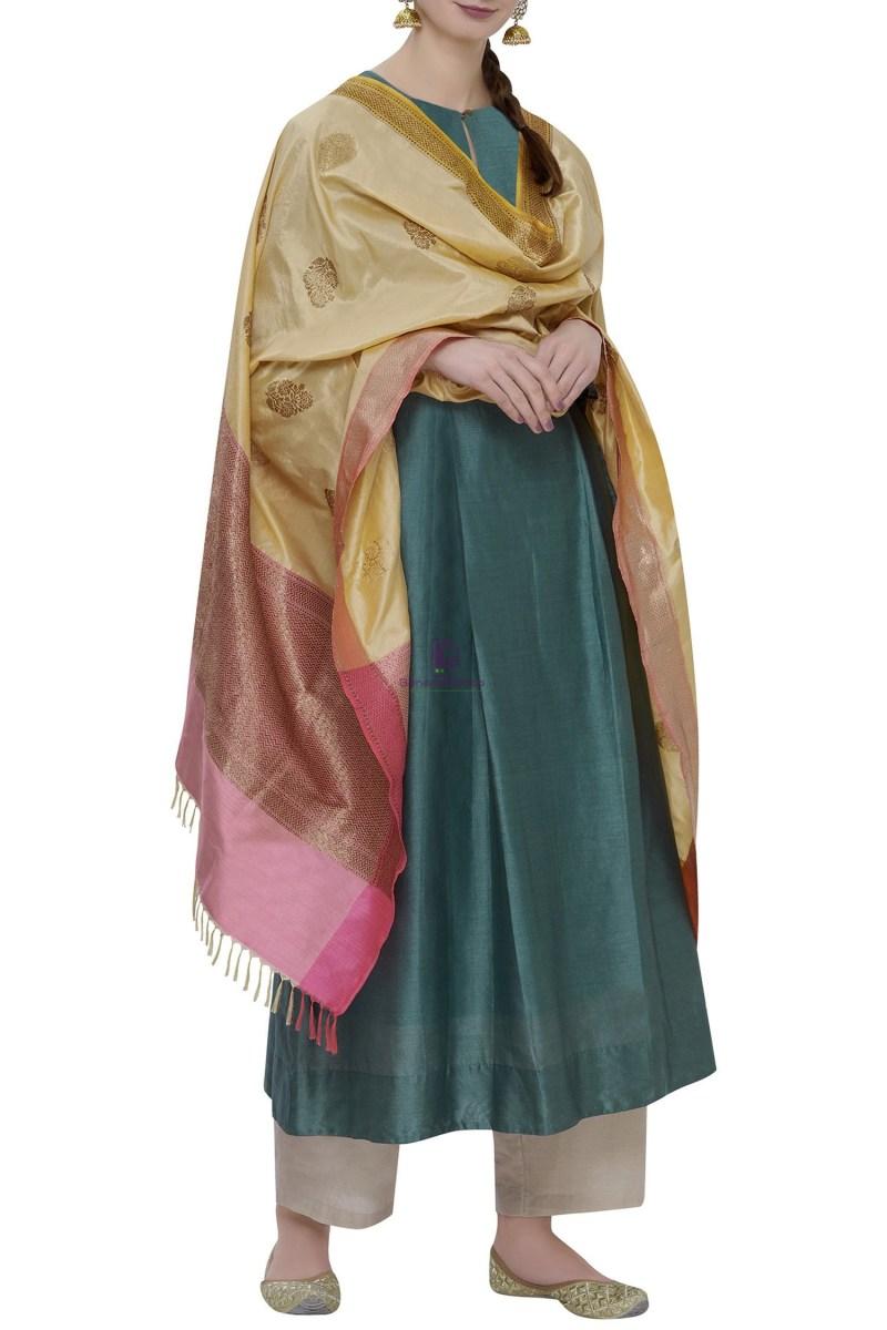Handloom Banarasi Pure Katan Silk Dupatta in Beige 1