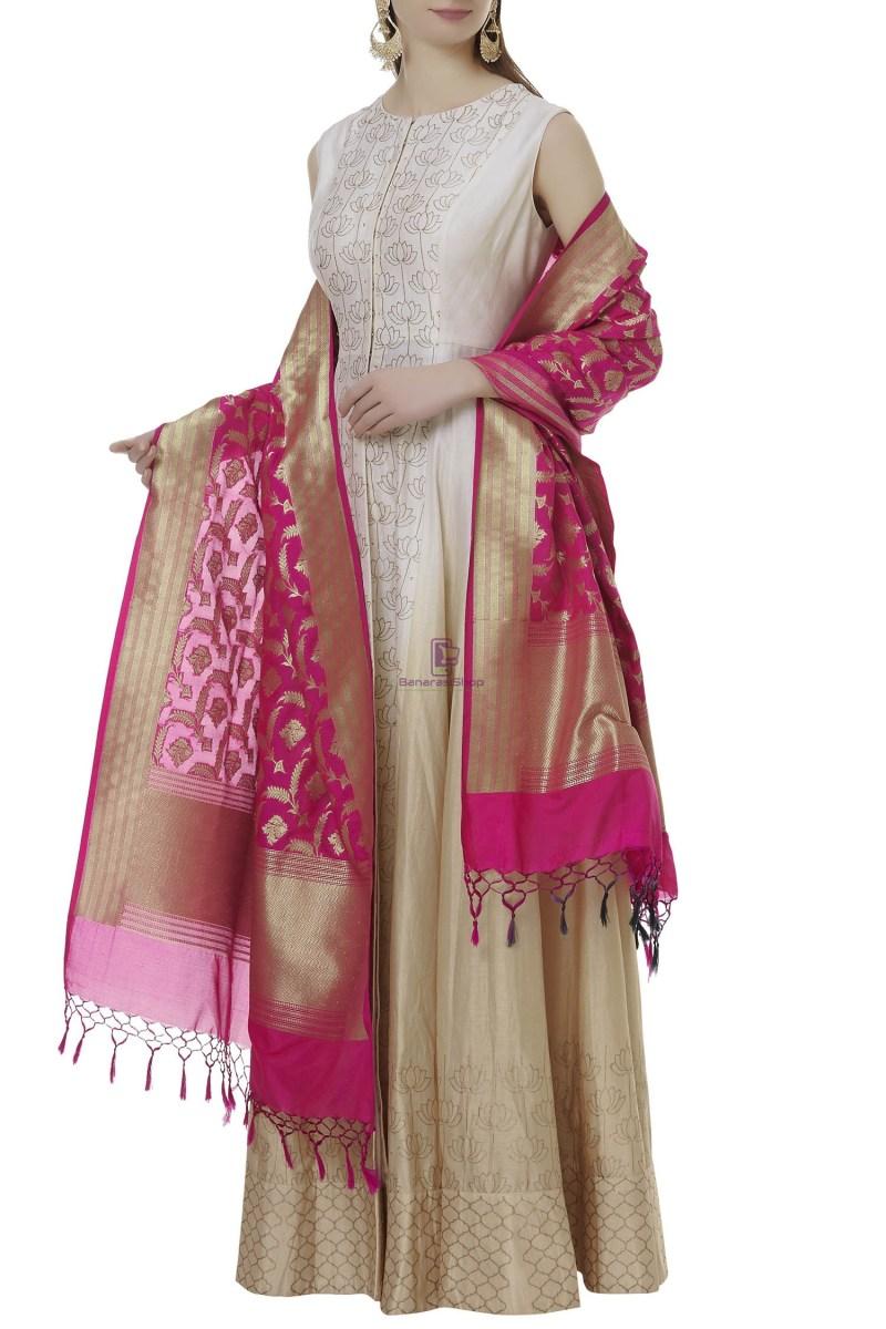 Woven Banarasi Art Silk Dupatta in Fuchsia 1