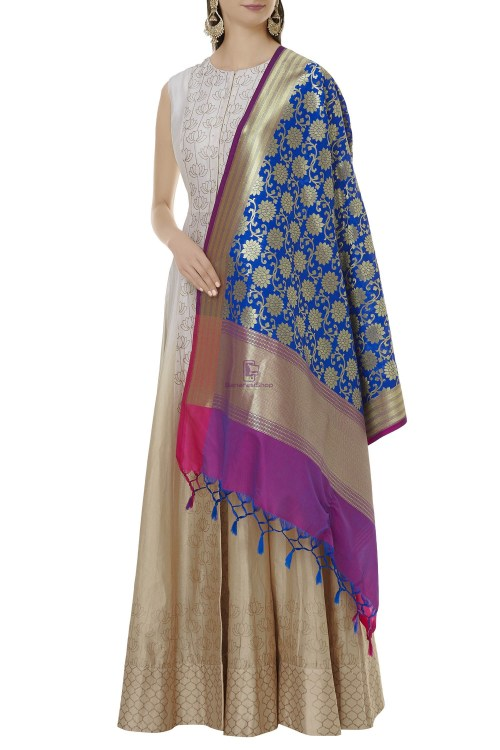 Woven Banarasi Art Silk Dupatta in Blue 3