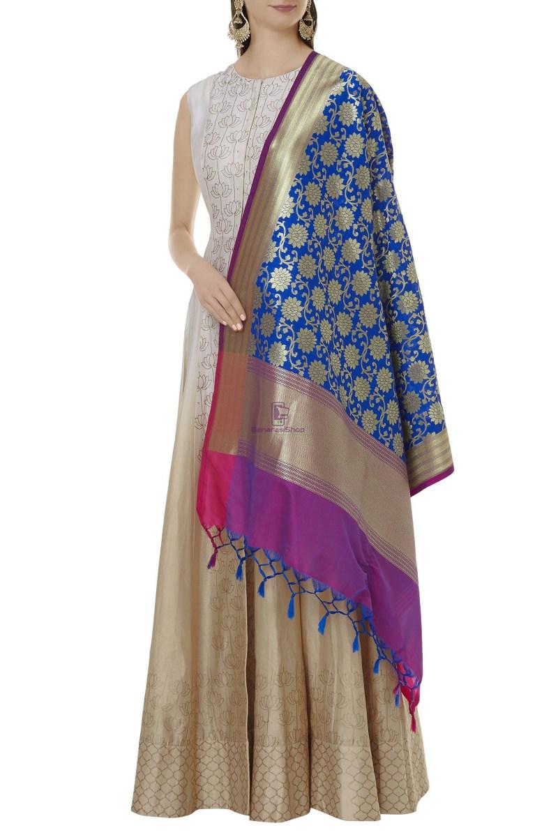 Woven Banarasi Art Silk Dupatta in Blue 2
