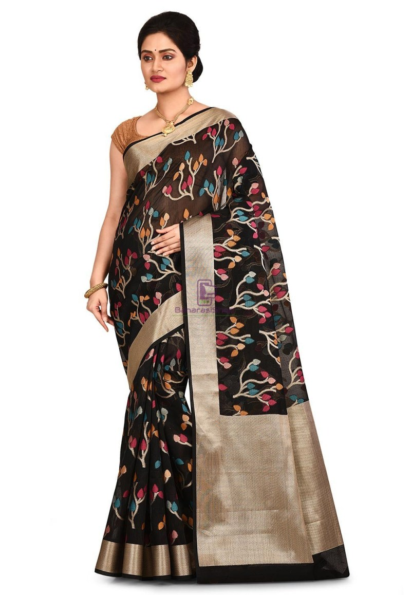 Woven Banarasi Cotton Silk Saree in Black 1