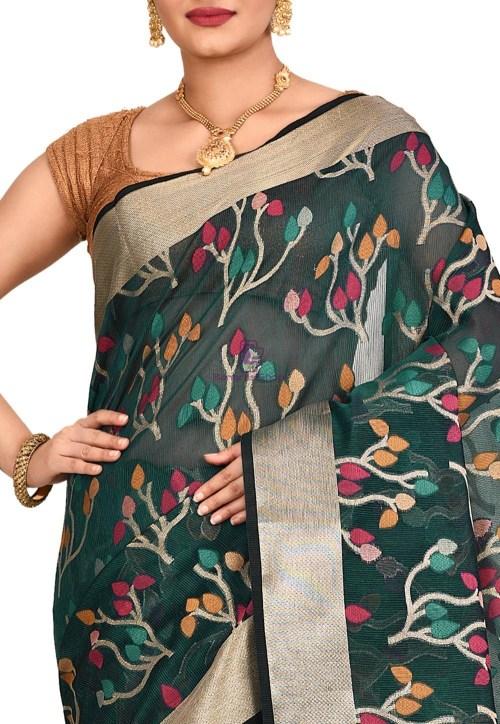 Woven Banarasi Cotton Silk Saree in Dark Teal Blue 5