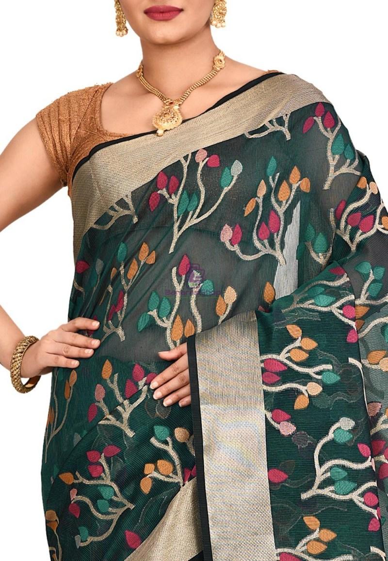 Woven Banarasi Cotton Silk Saree in Dark Teal Blue 2