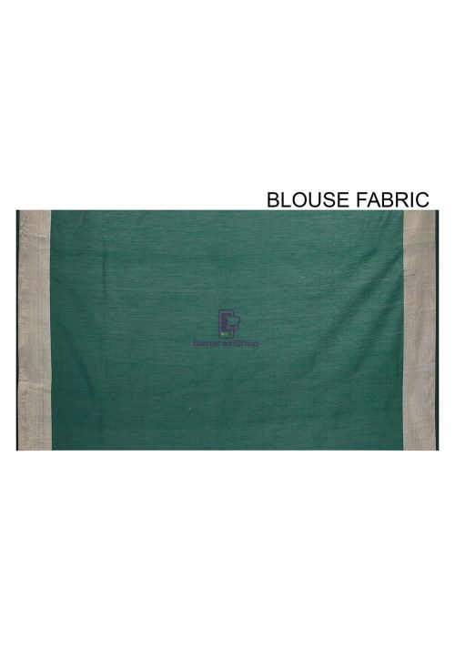 Woven Banarasi Cotton Silk Saree in Dark Teal Blue 6