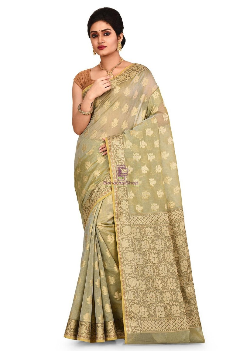 Woven Banarasi Cotton Silk Saree in Grey and Mustard Dual Tone 1
