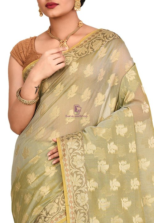 Woven Banarasi Cotton Silk Saree in Grey and Mustard Dual Tone 5