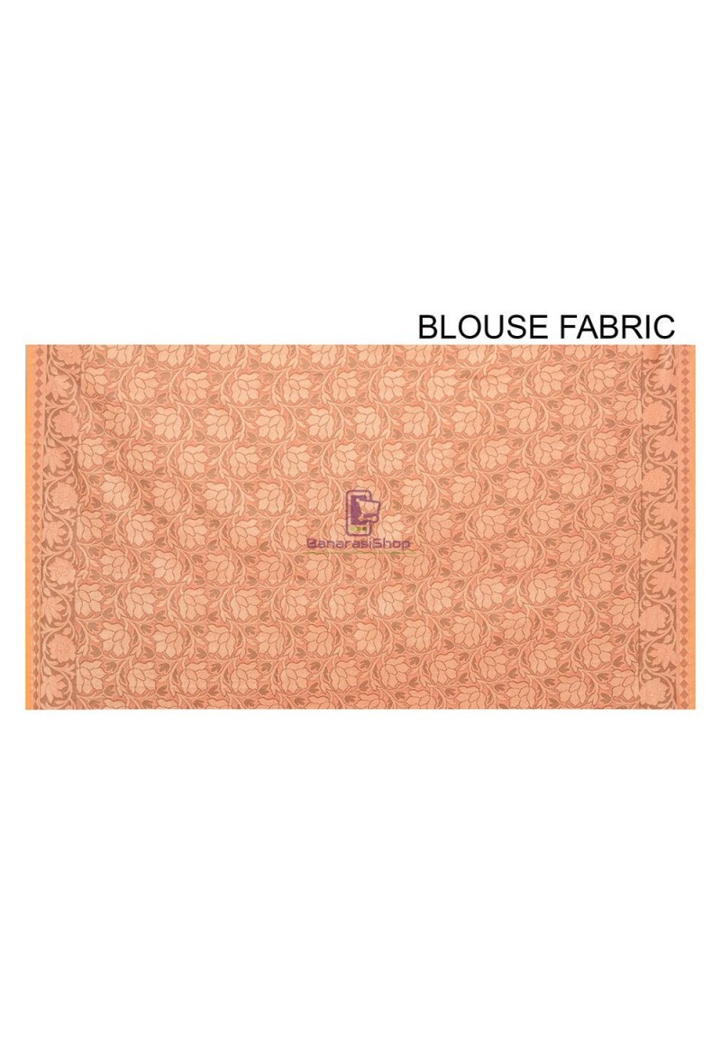 Woven Banarasi Cotton Silk Saree in Peach and Mustard Dual Tone 3