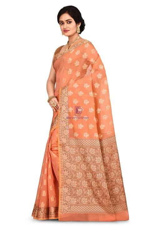 Woven Banarasi Cotton Silk Saree in Peach and Mustard Dual Tone 7