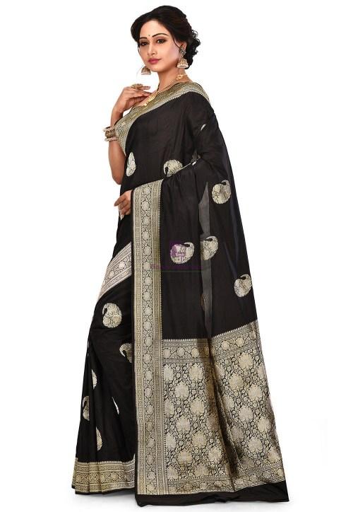Pure Banarasi Katan Silk Handloom Saree in Black 8