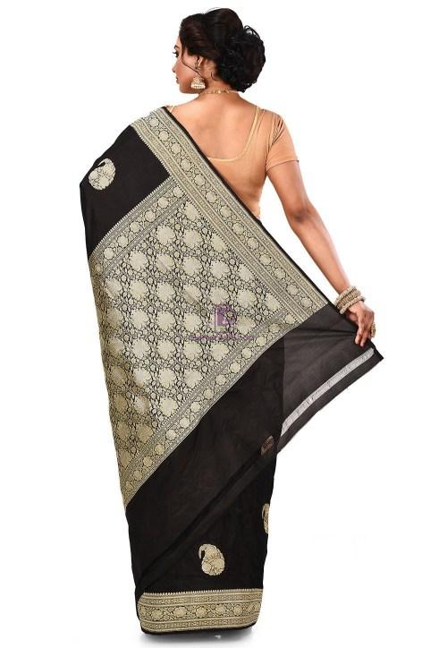 Pure Banarasi Katan Silk Handloom Saree in Black 9