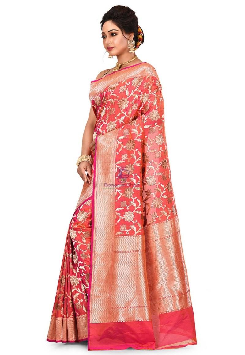 Pure Banarasi Katan Silk Handloom Saree in Fuchsia and Orange Dual Tone 4