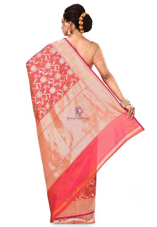 Pure Banarasi Katan Silk Handloom Saree in Fuchsia and Orange Dual Tone 9