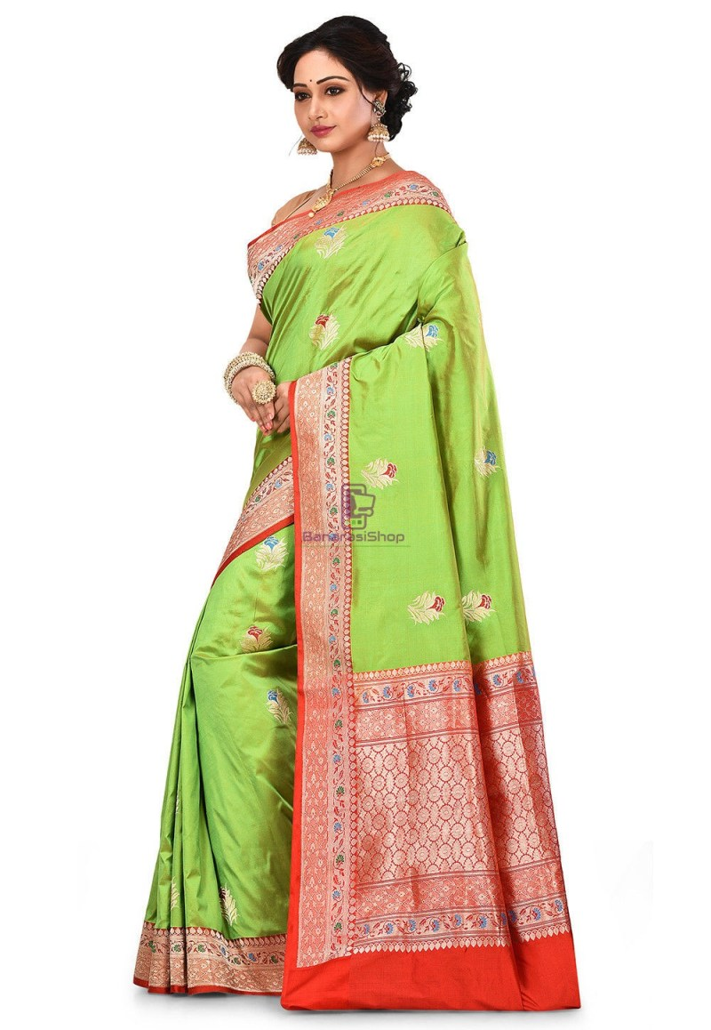 Pure Banarasi Katan Silk Handloom Saree in Light Green 4