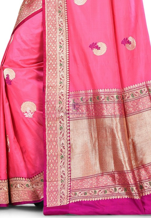 Pure Banarasi Katan Silk Handloom Saree in Pink 5