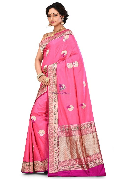 Pure Banarasi Katan Silk Handloom Saree in Pink 7