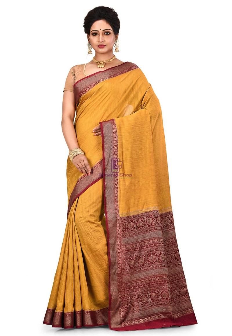 Pure Muga Silk Banarasi Saree in Mustard 1