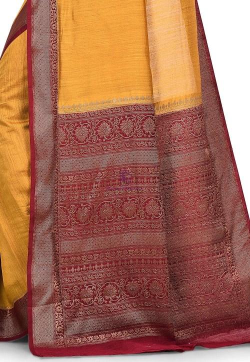 Pure Muga Silk Banarasi Saree in Mustard 6