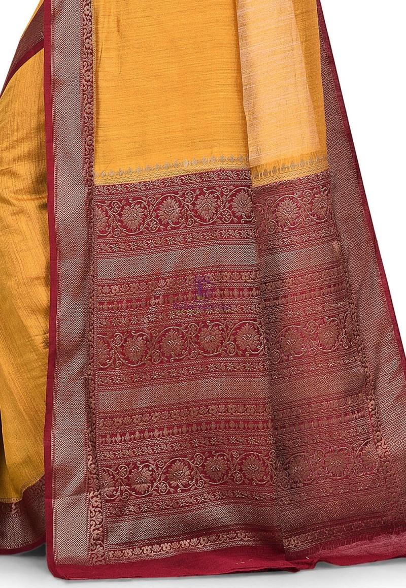Pure Muga Silk Banarasi Saree in Mustard 2