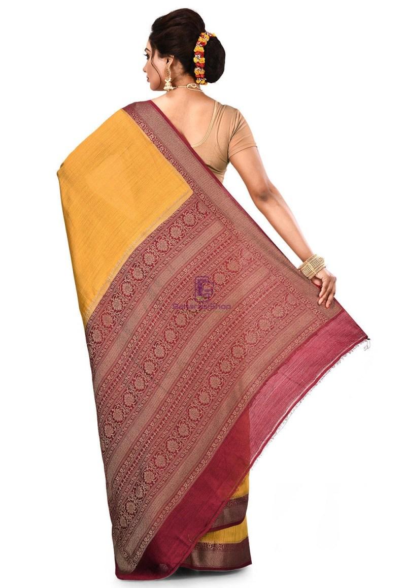 Pure Muga Silk Banarasi Saree in Mustard 5