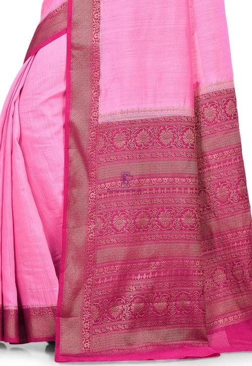 Pure Muga Silk Banarasi Saree in Pink 6