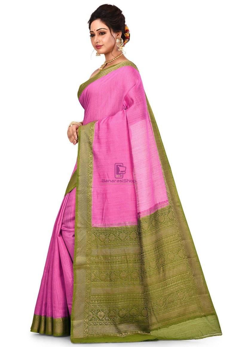 Pure Muga Silk Banarasi Saree in Pink 4
