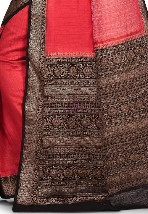 Pure Muga Silk Banarasi Saree in Red 6
