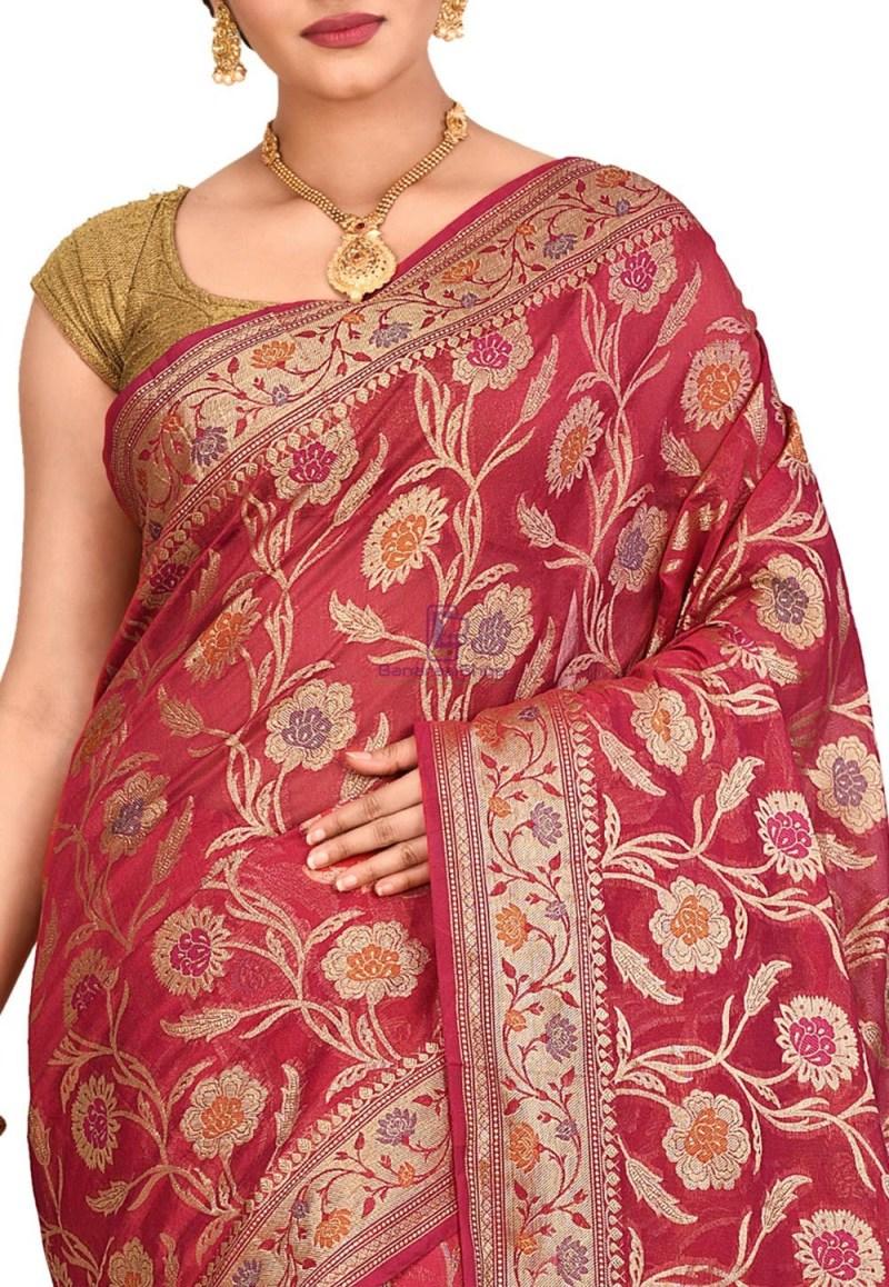 Woven Banarasi Cotton Silk Saree in Red 2
