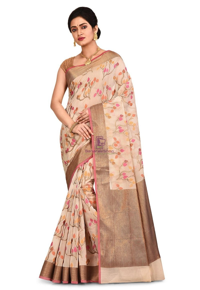 Woven Banarasi Cotton Silk Saree in Light Beige 1