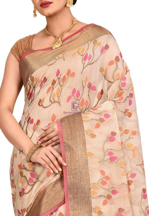 Woven Banarasi Cotton Silk Saree in Light Beige 5