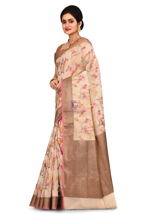 Woven Banarasi Cotton Silk Saree in Light Beige 7