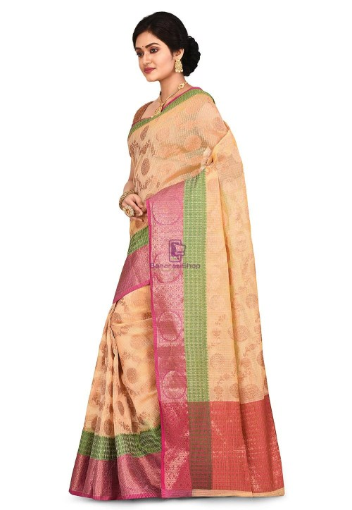 Banarasi Saree in Light Yellow 7