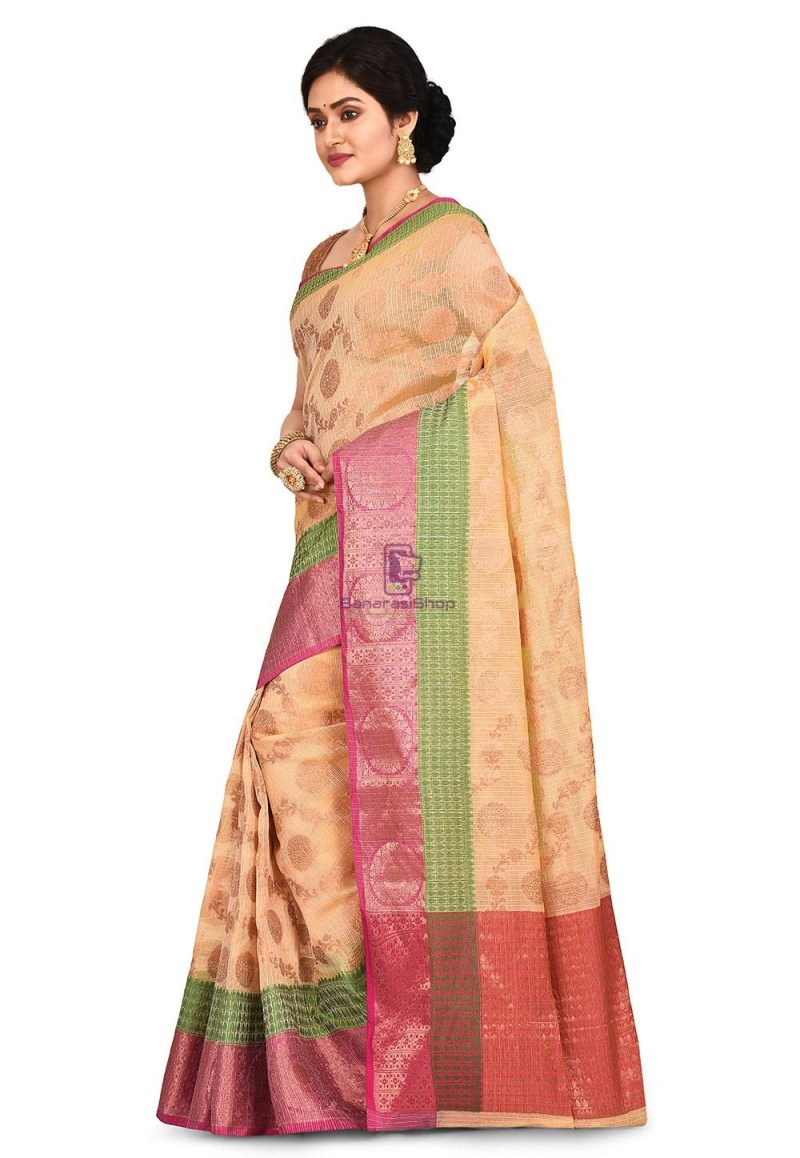 Banarasi Saree in Light Yellow 4