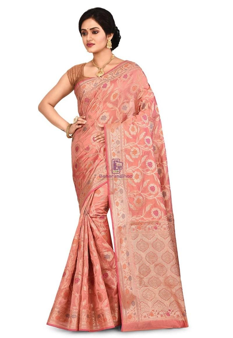 Woven Banarasi Cotton Silk Saree in Old Rose 1