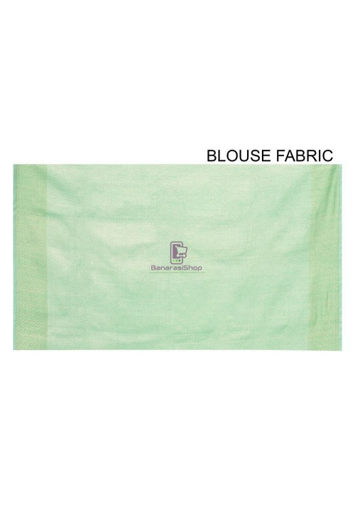 Woven Banarasi Cotton Silk Saree in Pastel Green 6