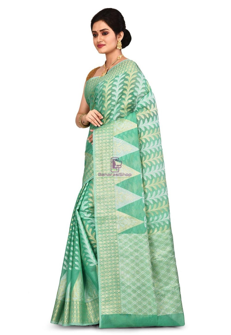 Woven Banarasi Cotton Silk Saree in Pastel Green 4
