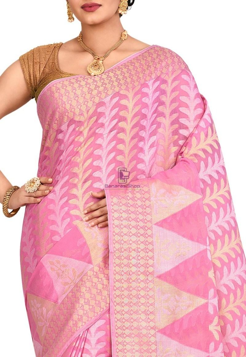 Woven Banarasi Cotton Silk Saree in Pink 2