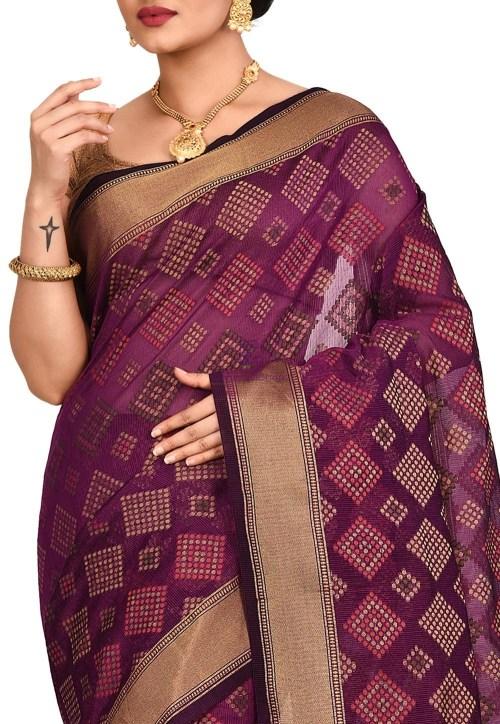 Woven Banarasi Cotton Silk Saree in Purple 5
